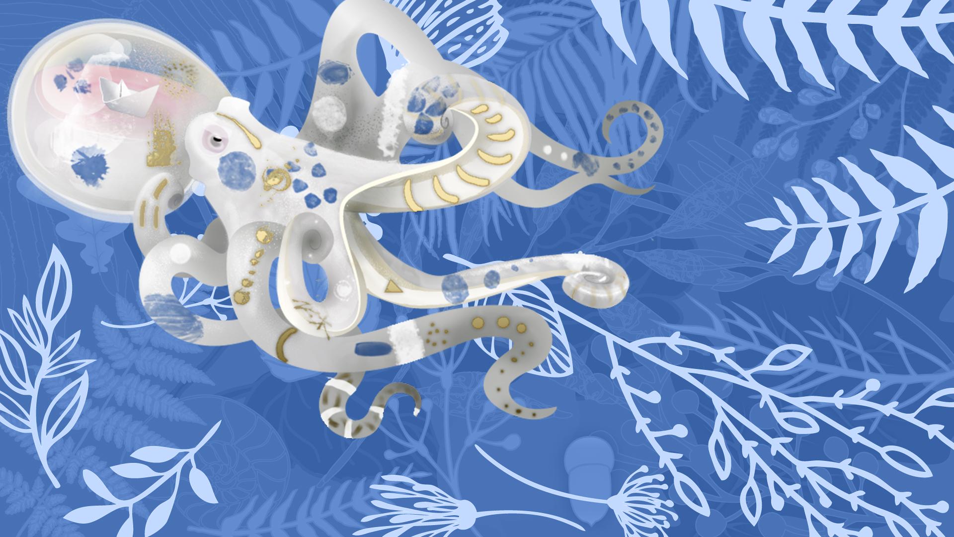 Festival tribus libres 2018 - illustration - bandeau-motif-feuillage-POUPLE-bleu