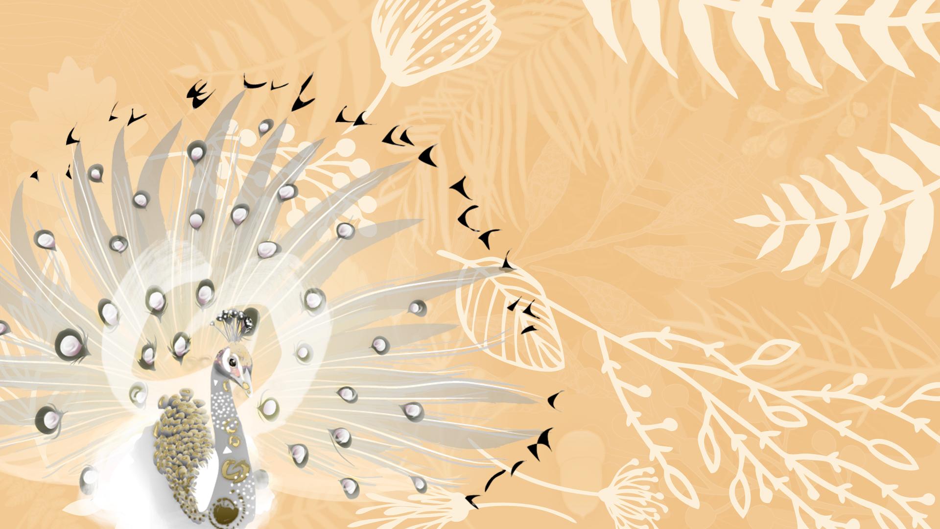 Festival tribus libres 2018- illustration - bandeau-motif-feuillage-paon-jaune