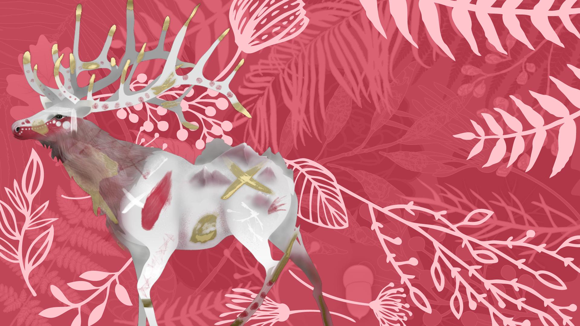 Festival tribus libres 2018 - illustration - bandeau-motif-feuillage-wapiti-rouge - article tribu de la terre