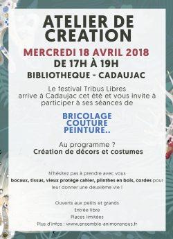Festival tribus libres 2018 - atelier création mercredi 18 avril