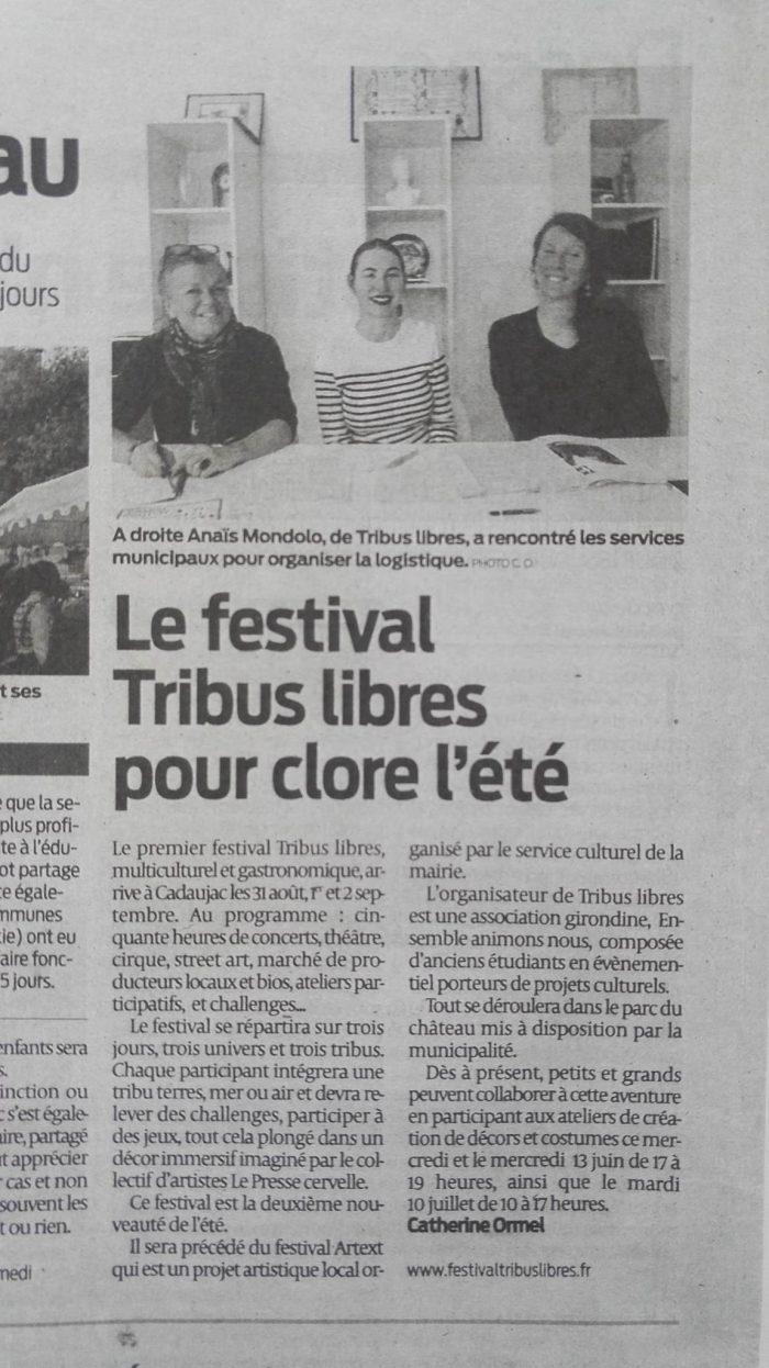ARTICLE SUD OUEST - presse - festival tribus libres - 2018 - cadaujac